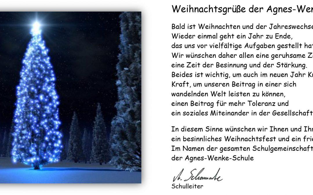 Weihnachtsgrüße An Lehrerin.Allgemein Agnes Wenke Sekundarschule